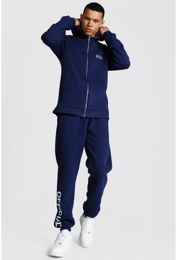 Dark blue blue Tall Official Colour Block Zip Tracksuit