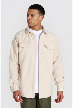 Tall Man Official Fleece Overshirt, Ecru bianco