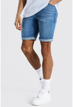 Mid blue blue Tall Slim Rigid Denim Short With Turn Up