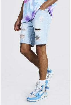 Light blue blå Tall - Slitna jeansshorts i slim fit