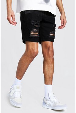 Black Tall Slim Fit Distressed Denim Shorts