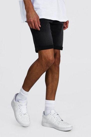 Charcoal grey Tall Skinny Fit Denim Shorts