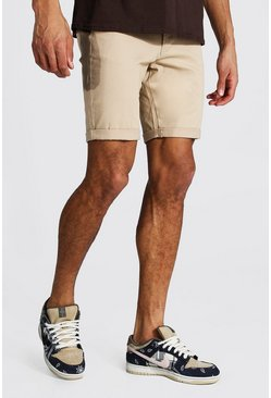 Tall Skinny-Fit Chino-Shorts, Steingrau beige