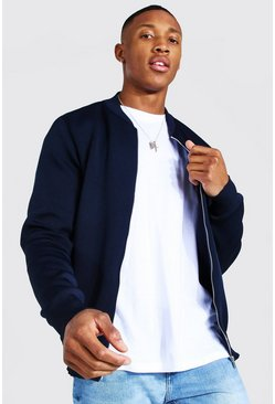 Navy Smart Knitted Bomber