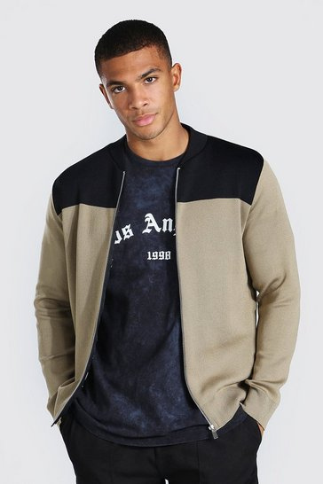Taupe beige Colour Block Knitted Bomber Jacket