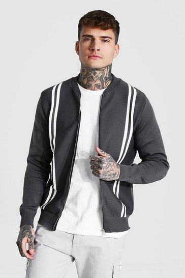 Grey Striped Knitted Bomber Jacket