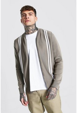Taupe beige Striped Knitted Bomber Jacket