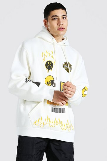 Ecru white Oversized Official Graphic Varsity Hoodie