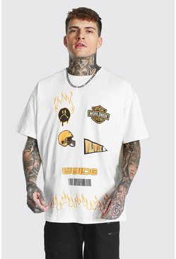 Ecru white Oversized Official Graphic Varsity T-shirt