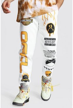 Ecru white Loose Official Graphic Varsity Joggers
