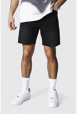 Washed black Loose Fit Denim Short With Raw Hem