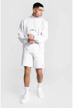 Ash grey Man Signature Funnel Neck Short Tracksuit