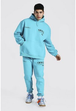 Blue Oversized Official Worldwide Hooded Tracksuit