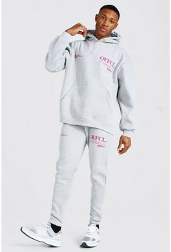 Grey marl grey Oversized Official Worldwide Hooded Tracksuit