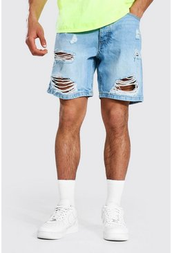 Light blue blue Baggy Versleten Denim Shorts