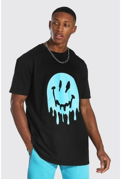 Black Oversized Drip Face T-shirt