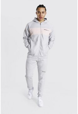 Grey Tall Man Colour Block Zip Hooded Tracksuit