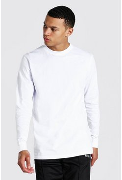 White Tall Basic Long Sleeve Crew Neck T-shirt