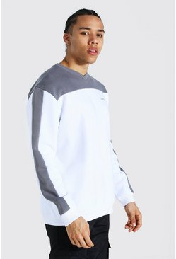 Slate grey Tall Official Colour Block Varsity Sweater