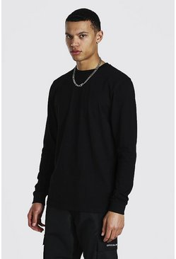Black Tall Basic Long Sleeve Crew Neck T-shirt