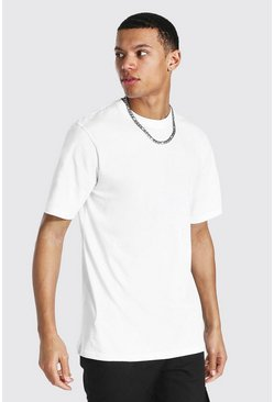 T-shirt girocollo Basic a maniche corte Tall, Bianco