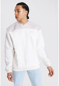 Tall Official Pullover im Colorblock-Design, Naturfarben weiß