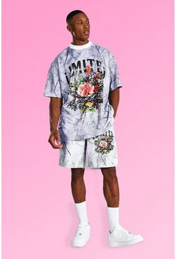 Grey Oversized Floral Tie Dye T-shirt & Short Set
