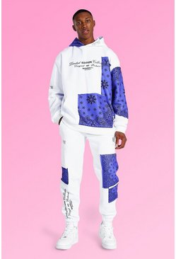 White Oversized Man Bandana Patch Hooded Tracksuit