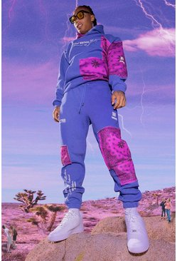 Cobalt blue Oversized Man Bandana Patch Hooded Tracksuit