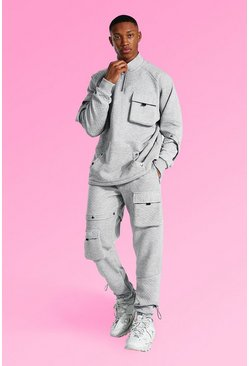 Grey marl grey Oversized Quilted Cargo Funnel Neck Tracksuit