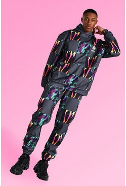 Multi Oversized Tie Dye Patchwork Hooded Tracksuit