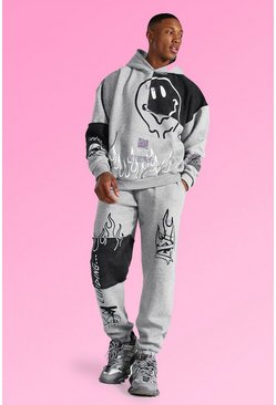 Grey marl grey Oversized Graffiti Patchwork Hooded Tracksuit