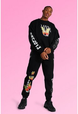 Black Oversized Butterfly Graphic Sweater Tracksuit