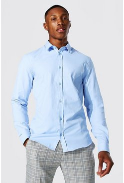 Pale blue blue Slim Fit Long Sleeve Shirt