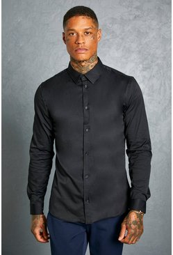 Camisa de manga larga Slim Fit, Negro