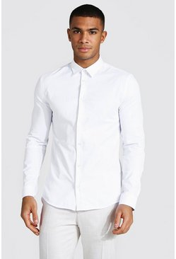 White Muscle Fit Long Sleeve Shirt