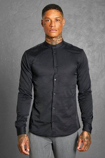 Black Muscle Fit Grandad Collar Long Sleeve Shirt