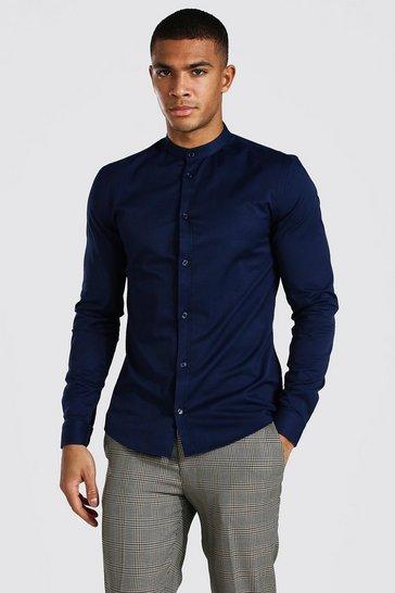 Navy Muscle Fit Grandad Collar Long Sleeve Shirt