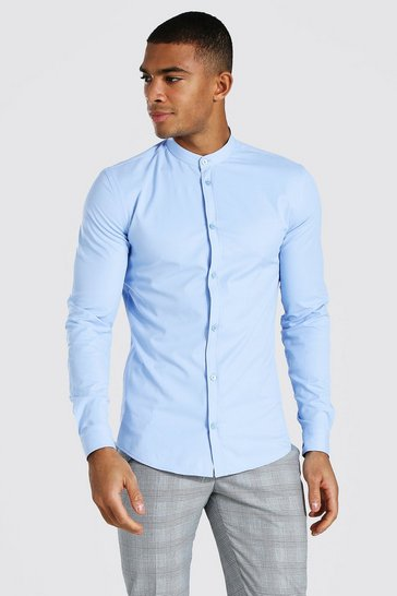 Pale blue blue Muscle Fit Grandad Collar Long Sleeve Shirt