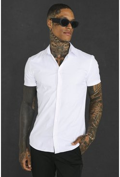 White Muscle Fit Short Sleeve Shirt