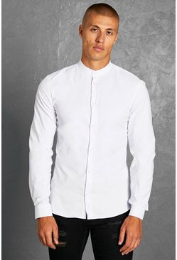 White Slim Fit Grandad Collar Long Sleeve Shirt