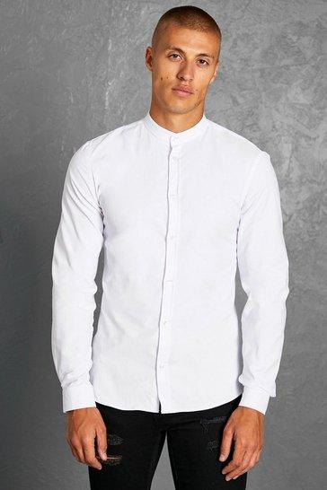 White Slim Fit Grandad Collar Long Sleeve Shirt