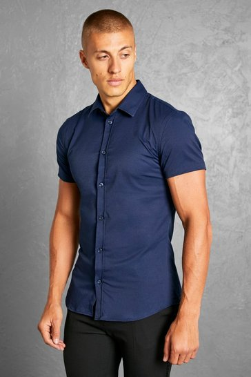 Navy Muscle Fit Short Sleeve Shirt