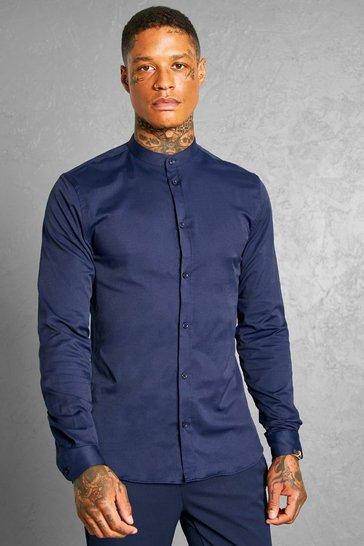Navy Slim Fit Grandad Collar Long Sleeve Shirt
