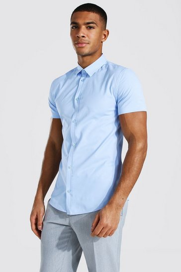 Pale blue blue Muscle Fit Short Sleeve Shirt