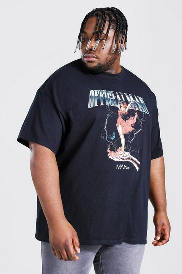 Black Plus Size Official Man Girl Print T-shirt