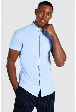 Pale blue blue Muscle Fit Grandad Collar Short Sleeve Shirt