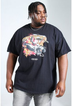 Black Plus Size Official Flames Print T-shirt