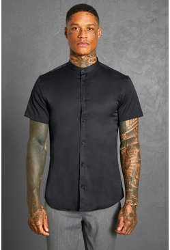 Black Slim Fit Grandad Collar Short Sleeve Shirt