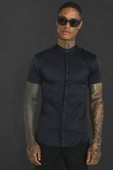 Black Muscle Fit Grandad Collar Short Sleeve Shirt